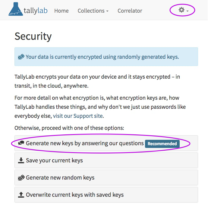 How to create new encryption keys by answering security questions